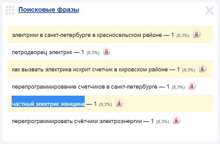 Скриншот 1. Поисковый запрос «частный электрик женщина» (виджет Яндекс.Метрики).